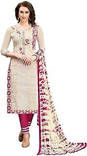 Chanderi Cotton Fabric Cream Color Salwar Suit Material