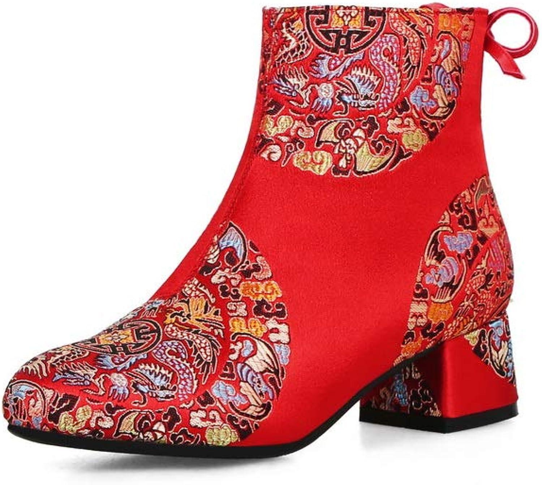AdeeSu Womens Chunky Heels Bows Urethane Boots SXC03416