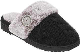 Dearfoams Chunky Knit Scuff W/Plush Cuff, Pantofole da donna di colore nero, soletta in memory foam, traspirante e flessib...