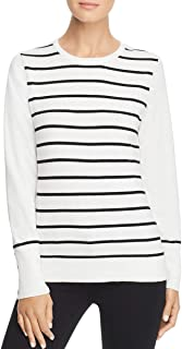 Karl Lagerfeld Womens Striped Ribbed Trim Pullover Sweater