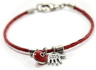 Pulsera para mujer de cuero rojo con jamsa y amuletos contra