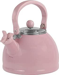 Calypso Basics by Reston Lloyd Harmonic Hum Whistling Teakettle with Glass Lid, 2.2-Quart, Pink
