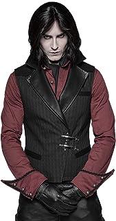 Punk Rave Black Striped Men's Waistcoat Gothic Leather Decoration Retro Steampunk Palace Vest