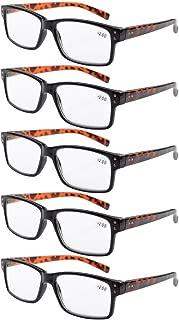 Eyekepper Mens Vintage Reading Glasses-5 Pack,Black Frame Tortoise Arms +1.50