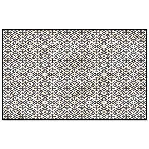 Quatrefoil Outdoor Rugs for patios Kitchen Rugs and mats Edwardian Floral for Entryway Porch Bedroom Living Room Laundry Kitchen Kids 4.5 x 5.2 Ft