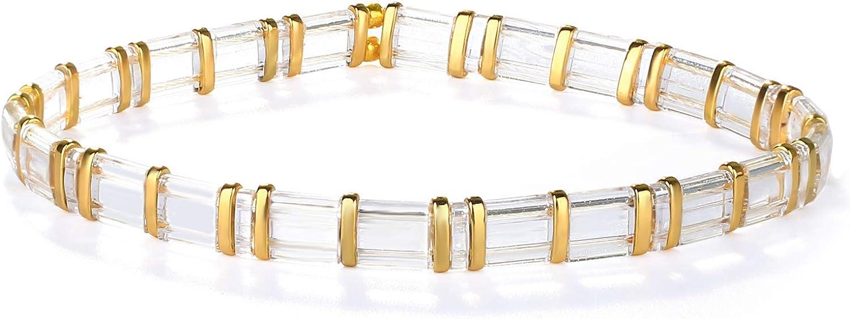 KELITCH Anklet Bracelet for Women Mens Bracelet Handmade Tila Beaded String Strand Friendship Bracelet Stretch Bangle Fashion Jewelry Gift