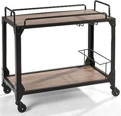 2-Tier Rolling Wood Kitchen Island Trolley Organizer Storage Shelf Display Restaurant Bar Serving Cart w/Glass Hanger & Wine Holder with Ebook
