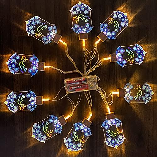 LED Cadena Luces Ramadan Hadas a Pilas Alimentado, 6.56ft 10LED Decorativas Guirnaldas Luminosas para Exterior, Interior, Jardines, Casas, Fiesta de Eid Mubarak , Blanca Cálida