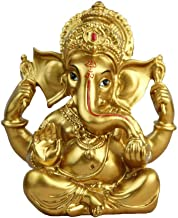 "BangBangDa 6.3"" H Resin Hindu God Statue Ganesh Figurine India Buddha Elephant Lord Ganesha Sculpture Idol Religious Yoga ..."