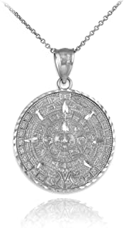 925 Sterling Silver Aztec Charm Mayan Calendar Pendant Necklace