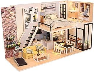 XYZMDJ miniatyrdockhus, dockhus miniatyr gör-det-själv hus kit perfekt gör-det-själv gåva för vänner, familjer
