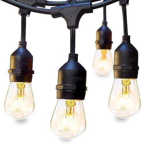 48 FT ADDLON Outdoor String Lights Commercial Grade Weatherproof Strand Edison Vintage Bulbs 15 Hanging Sockets, UL L...