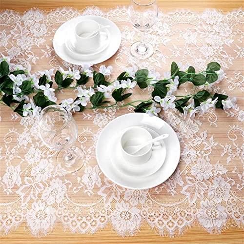 ZOYAFA Camino de mesa geométrico moderno blanco floral de encaje camino de mesa rosa silla de tela de mesa Faja cena banquete bautismo boda fiesta decoración de mesa 300cm