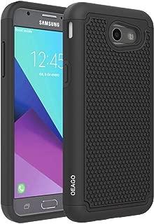 For Samsung Galaxy J3 Emerge / J3 Prime / J3 2017 / Sol 2 / Amp Prime 2 / Express Prime 2 Case, OEAGO [Shockproof] Hybrid Dual Layer Defender Protective Case Cover (Black)