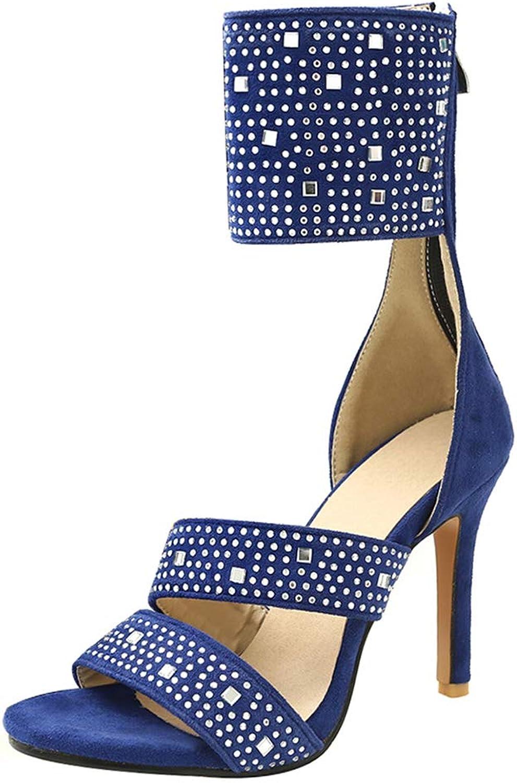 BeiaMina Women Fashion Thin Heel Sandals Back Zip