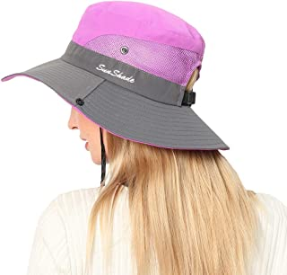 Foldable Sun Hat for Women Outdoor UV Protection with Wide Brim Ponytail Opening Neck Cord Breathable Mesh