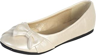Ivory Pearl or White Infant & Girl's Flat Shoes with Side Bow