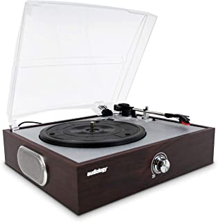 Audiology Vintage Vinyl Record Player Turntable with 3 Speed USB Port Built Stereo Speakers and Dust Cover