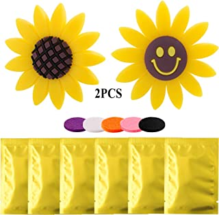 2 PCS Sunflower Car Accessories Air Vent Clips with 6 Pack Refill Felt Pads, Yellow Sunflower and Cute Smile Face Car Air Freshener Holder & Container Decorations Perfume Gift for Car Office Home