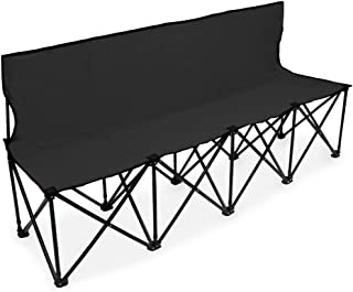Crown Sporting Goods 6-Foot Portable Folding 4 Seat Bench with Seat Backs & Carry Bag – Great Team Bench for Soccer & Football Sidelines, Tailgating, Camping & Events