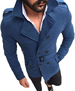 Howely Mens Turn Down Collar Woolen Belted Double Breasted Slim Fit Woolen Coat
