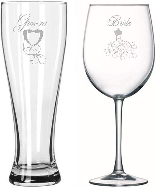 Bride Groom Toasting Glasses Engagement Gift Wedding Couples Gifts Bridal Shower Wedding Shower Wine Beer Set Original Gift