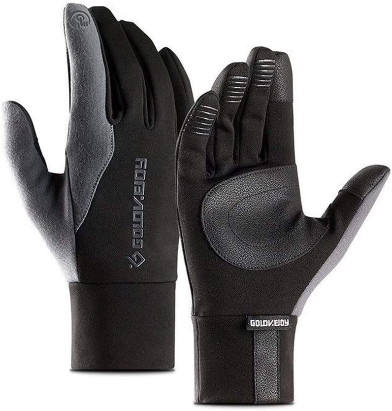 FASGION Local Stock Mens Unisex Leather Gloves Touch Screen Thinsulate Lined Driving Warm Gloves Winter Keep Warm Mittens Male (Color : Dark Grey, Gloves Size : M)