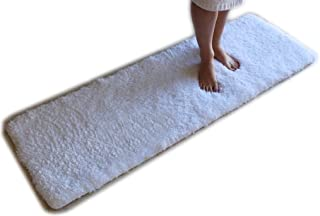 White Bath Mat Runner Rug Shag Non Slip Ultra Plush Microfiber Highly Water Absorbent Durable and Washable for Bathroom (20 Inch X 59 Inch)