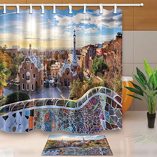 GoHeBe Wanderlust - Cortina de baño con diseño del famoso parque de verano en Barcelona, tejido de poliéster resistente al moho de 180 x 180 cm, con alfombras antideslizantes de franela de 40 x 60 cm