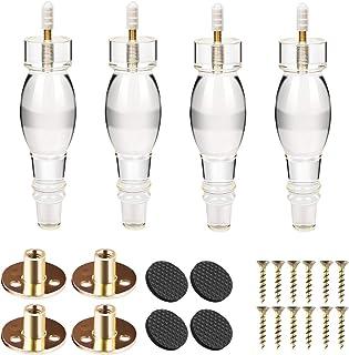 Btowin - Patas de acrílico para muebles 4 piezas eje de cristal transparente con rosca M8 de 5/16 pulgadas placa de mo...