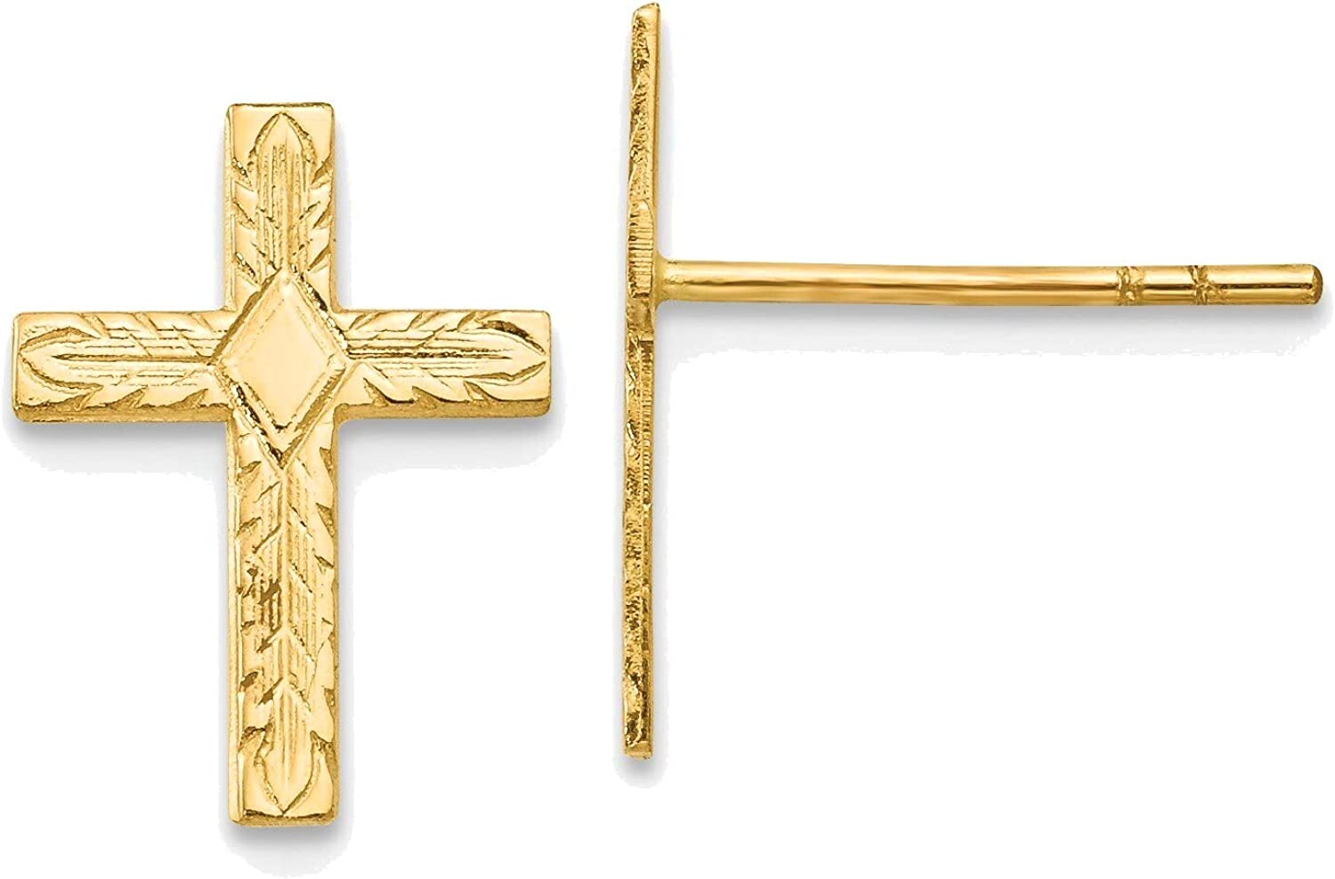 Polished & Textured Cross Earrings in 14K Yellow Gold