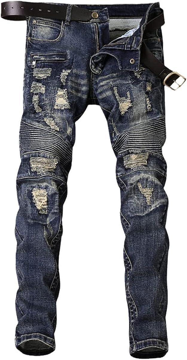 CACLSL Skinny Jeans Men's Denim Locomotive Stretch Pants Slim Trousers Fashion