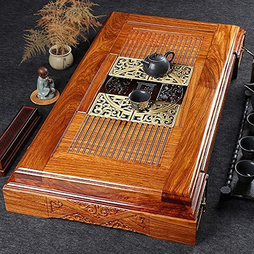 Vassoio da tè in legno Vassoio di tè di legno cinese Gongfu Tea Vassoio con i cassetti squisito cinese intaglio Progettato Teiera sottopentola Cup Platte ( Colore : Natural , Dimensione : 98x52x13cm )