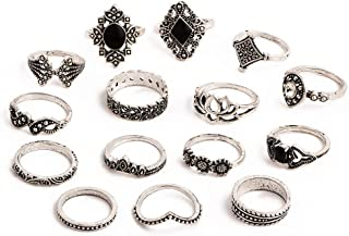 Jewels Galaxy Jewellery For Women Silver Plated Rings Combo (Mixed Sizes)