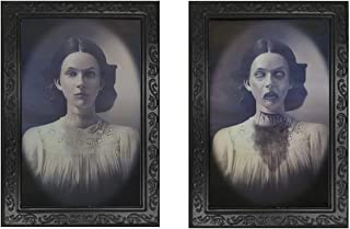 Halloween Lenticular 3D Changing Face Moving Picture Frame Horror Portrait Lady Gentleman Little Girl Monster Haunted Spooky Decorations for Halloween Theme Party Home Decor (Lady)