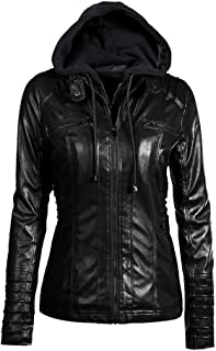 Plus Size Women's Faux Leather Autumn Winter Hooded Jacket Zippered Hoodie Short Slim Motorcycle Coat