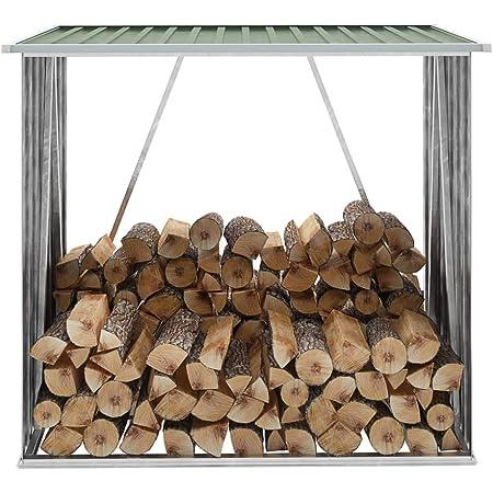 Festnight Abri de Stockage de Bois Abri à Bois de Chauffage Acier galvanisé 163x83x154 cm Vert
