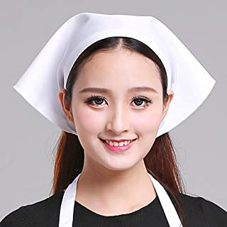 Transer Womens Hat Cap for Chef Housewife Waiter Cleaner Nanny Kitchen Worker (White)