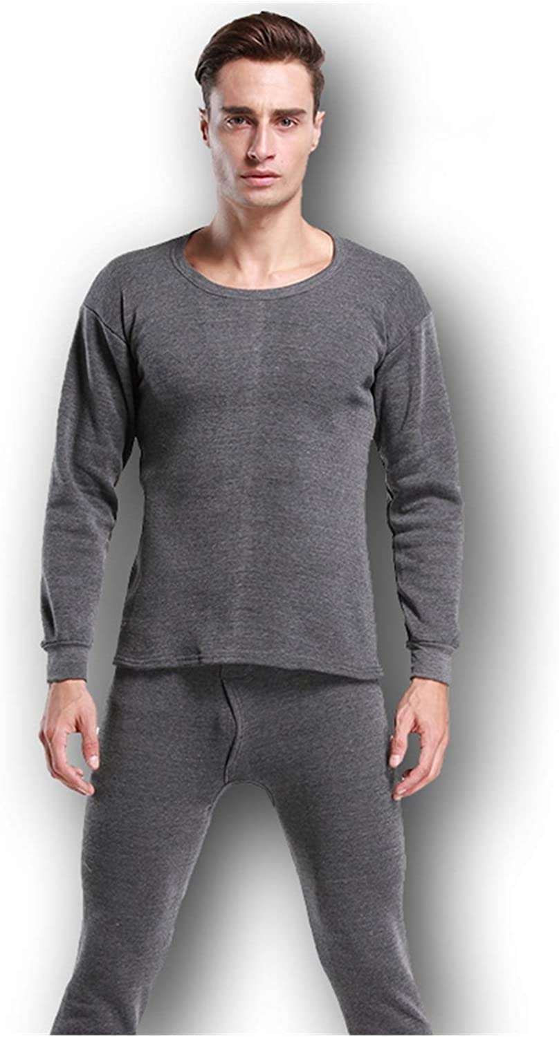 Glqwe Thermal Underwear Sets for Men Winter Thermo Underwear Long Johns Winter Clothes Men Thick Thermal Clothing Solid (Color : Dark Gray, Size : Medium)