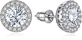 Earrings for Women Cubic Zirconia Stud Earrings Round 10MM Gift Box