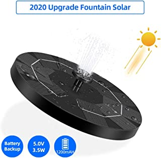 OneV FT Solar Powered Fountain Pump for Bird Bath, 3.5W Circle Solar Water Pump Built-in 1200mAh Battery, Solar Fountain Pump with 6 Nozzles for Fish Tank, Pond or Garden Decoration¡