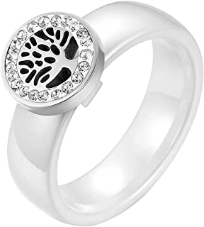 JewelryWe Anello da Donna Uomo in Ceramica Bianco, Pendente Albero della Vita Acciaio Inossidabile, Regalo