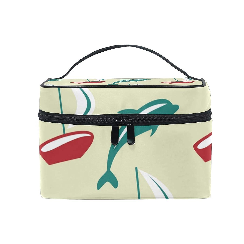 フィードバックトリム旅メイクボックス 海の海のイルカ柄 化粧ポーチ 化粧品 化粧道具 小物入れ メイクブラシバッグ 大容量 旅行用 収納ケース
