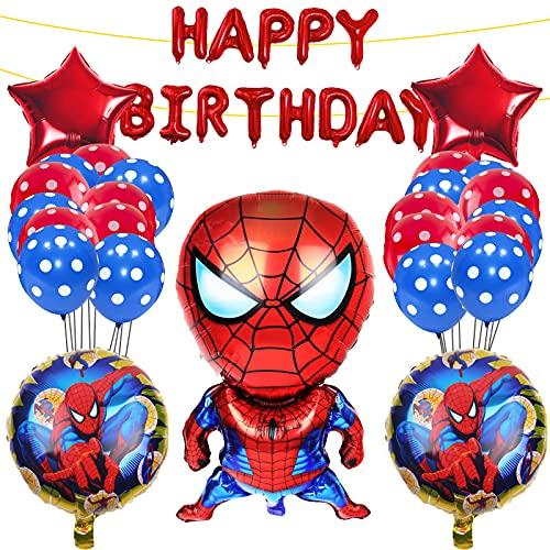 Yisscen Decoración de Cumpleaños Globo de Spiderman,Super Heroes Fiesta Temática Set de Decoración,Globos de Cumpleaños de Helio de Látex,Suministros de Decoración para Niños Globo de Aluminio