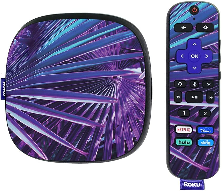 MightySkins Skin Compatible with Roku Ultra HDR 4K Streaming Media Player (2020) - Neon Palms | Protective, Durable, and Unique Vinyl Decal wrap Cover | Easy to Apply | Made in The USA