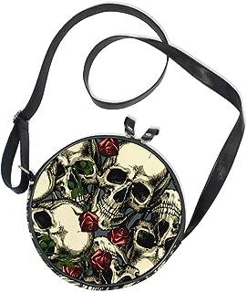 Ahomy Damen-Umhängetasche, rund, Totenköpfe mit roten Rosen
