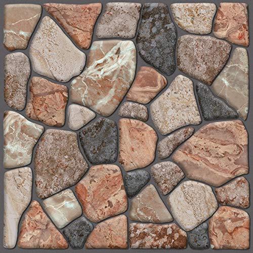Beyond 503 - Adesivo da parete per piastrelle, effetto pietra, 30 x 30 cm, set da 6 pezzi, autoadesivo, pietra naturale