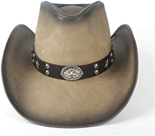 SHENTIANWEI New Women Men Leather Roll Up Brim Cowboy Hat Sombrero Gentleman Cowboy Cowgirl Western Hat