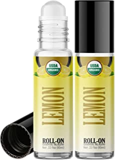 Organic Lemon Roll On Essential Oil Rollerball (2 Pack - USDA Certified Organic) Pre-diluted with Glass Roller Ball for Ar...