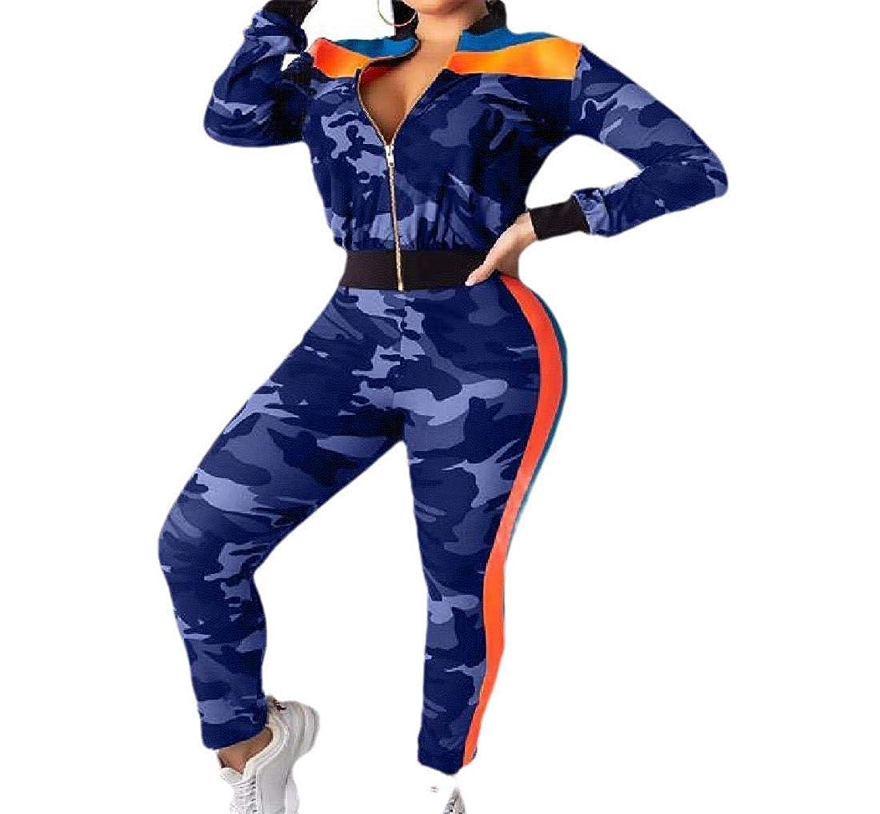 すずめ示すゼロレディースジッパークロージャー2ピースセットカジュアル迷彩ワークアウトジムスウェットスーツ Blue US L=China XL